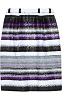 Oscar de la Renta Striped Tweed Skirt - Lyst