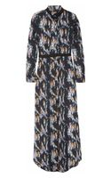 Theyskens' Theory Printed Silk Maxi Dress - Lyst