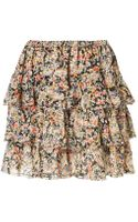 Topshop Paisley Tiered Mini Skirt - Lyst