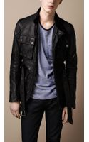 Burberry Brit Washed Leather Motorcycle Jacket - Lyst