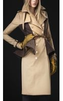 Burberry Prorsum Wool Peplum Trench Coat