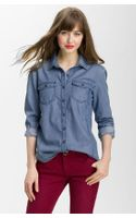 Caslon® Boyfriend Fit Denim Shirt