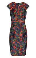 Lela Rose Floral Print Taffeta Dress