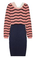 Michael Van Der Ham Contrast-trimmed Striped Sweater Dress