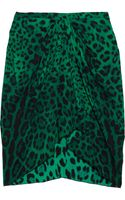 Dolce & Gabbana Leopard Print Stretch Silk Skirt