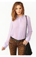 Nasty Gal Triangle Studded Blouse Lilac