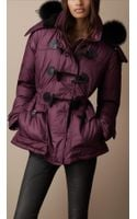 Burberry Brit Fur Trim Quilted Duffle Coat