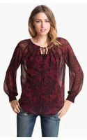 Bellatrix Print Chiffon Peasant Blouse