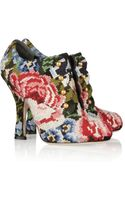 Dolce & Gabbana Tapestry and Leather Ankle Boots