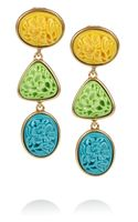 Oscar de la Renta 24karat Gold-Plated Carved Cabochon Clip Earrings