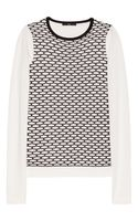 Tibi Mesh Patterned Cotton Blend Sweater