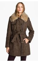 Kors By Michael Kors Michael Michael Kors Belted Tweed Coat with Genuine Coyote Fur