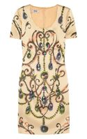 Moschino Cheap & Chic Jewel Embellished Satin Dress