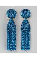 Oscar de la Renta Short Chain Tassel Earrings