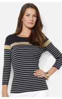 Lauren by Ralph Lauren Button Shoulder Stripe Tee - Lyst