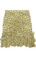 Marni Ruffled Printed Silk Mini Skirt