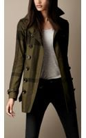 Burberry Brit Short Cotton Twill Check Trench Coat