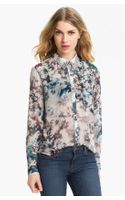 Bellatrix Embellished Collar Print Chiffon Shirt