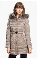 Guess Faux Fur Trim Quilted Satin Jacket Online Exclusive - Lyst