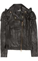 Love Moschino Ruffled Leather Biker Jacket - Lyst