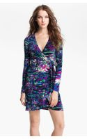 BCBGMAXAZRIA Print Jersey Wrap Dress Petite