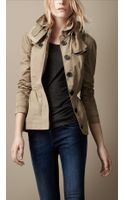 Burberry Brit Short Technical Taffeta Peplum Trench Coat