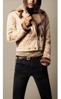 Burberry Brit Shearling Quilted Bomber Jacket - Lyst