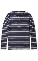 Sunspel Striped Cotton-jersey Henley T-shirt - Lyst
