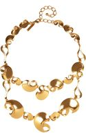 Oscar de la Renta Gold Plated Bib Necklace - Lyst