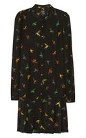 McQ by Alexander McQueen Bird Print Silk Dress