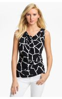Michael by Michael Kors Sleeveless Drape Neck Top - Lyst
