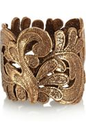 Oscar de la Renta Gold Plated Lace Effect Cuff