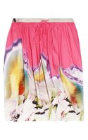Vera Wang Printed Twisted Stretchcotton Skirt - Lyst