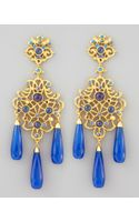 Jose & Maria Barrera Jadedrop Chandelier Clip Earrings Blue