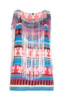 MSGM Aztec Print Fringed Top