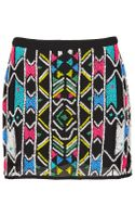 Topshop Aztec Embellished Mini Skirt