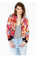 Nasty Gal Flower Punch Bomber Jacket