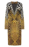 Roberto Cavalli Animalprint Stretchsatin Dress