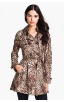 Betsey Johnson Laceup Back Print Trench Coat