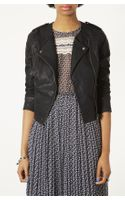 Topshop Mirabelle Faux Leather Biker Jacket - Lyst