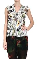 Gucci Sleeveless Silk Top Flora Print - Lyst