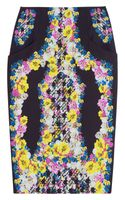 Erdem Frida Printed Silk crepe Pencil Skirt