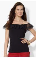 Lauren by Ralph Lauren Lace Trim Top Petite