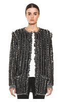 Chloé Long Fringed Cardigan in Blackstripes - Lyst