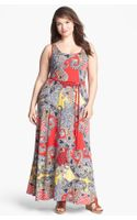 Lucky Brand Marrakesh Paisley Print Maxi Dress Plus