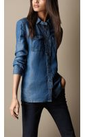 Burberry Twotone Denim Shirt - Lyst