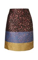 Derek Lam Colour Blocked Brocade Skirt - Lyst
