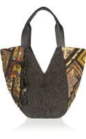Antik Batik Leathertrimmed Embroidered Cotton Shoulder Bag