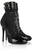 Alexander McQueen Patent Leather and Mesh Boots - Lyst