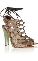 Brian Atwood Tie Me Up Animalprint Cork effect Sandals - Lyst